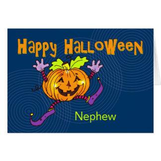 Sobrino feliz del feliz Halloween de la calabaza Tarjeta De Felicitación
