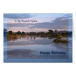 Sobrino, lago en la tarjeta de cumpleaños del
