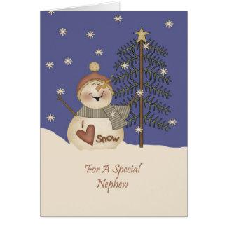 Sobrino lindo del navidad del muñeco de nieve tarjeta de felicitación