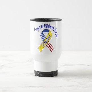 Sobrino - llevo un patriótico militar de la cinta taza de viaje de acero inoxidable