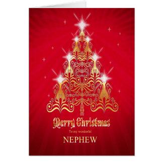 Sobrino, tarjeta de Navidad estilizada del árbol