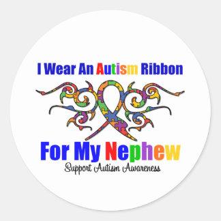 Sobrino tribal de la cinta del autismo pegatina redonda