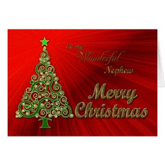 Sobrino, un oro y tarjeta de Navidad roja del