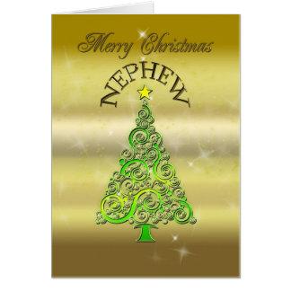 Sobrino, una tarjeta de Navidad del efecto del oro