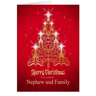 Sobrino y familia, tarjeta de Navidad del árbol de