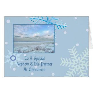 Sobrino y su navidad del lago winter del socio tarjeta de felicitación