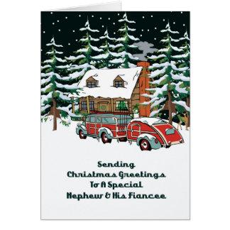 Sobrino y sus saludos del navidad del prometido tarjeta de felicitación