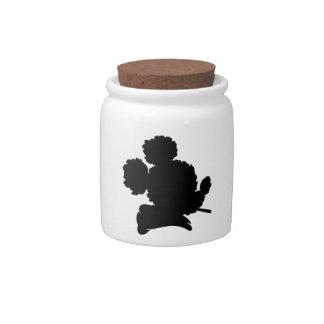 SOC logo porcelain bud jar - black Candy Dishes