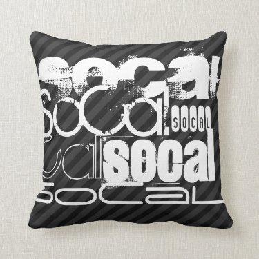 SoCal; Black & Dark Gray Stripes Throw Pillows