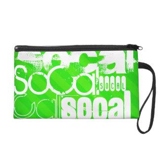 SoCal; Neon Green Stripes Wristlet