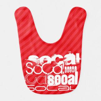 SoCal; Rayas del rojo del escarlata Baberos Para Bebé