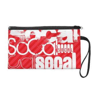 SoCal; Scarlet Red Stripes Wristlet Clutch