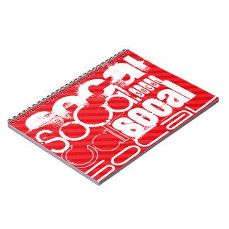 SoCal; Scarlet Red Stripes Spiral Notebook