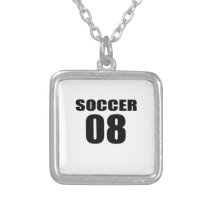 Soccer 08 Birthday Designs Silver Plated Necklace