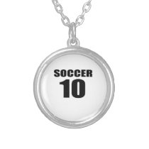 Soccer 10 Birthday Designs Silver Plated Necklace