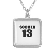 Soccer 13 Birthday Designs Silver Plated Necklace