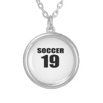 Soccer 19 Birthday Designs Silver Plated Necklace