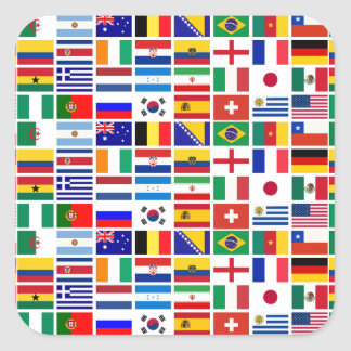 SOCCER 2014 flags pattern Square Sticker