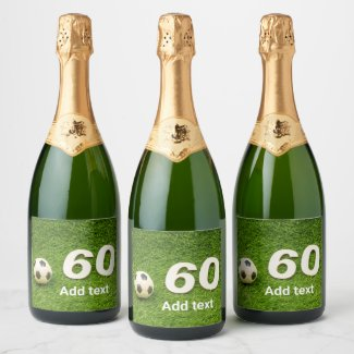 Soccer 60th Birthday with football and number 60 Champagne Label
