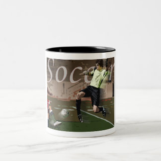 Soccer Action Two-Tone Coffee Mug