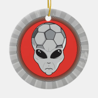 soccer alien head graphic Double-Sided ceramic round christmas ornament