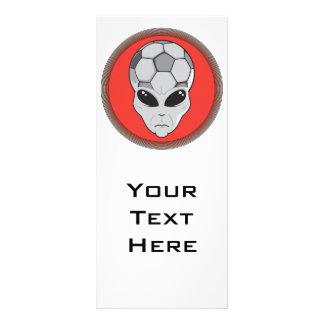 soccer alien head graphic rack card