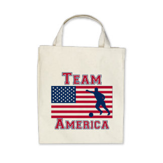 Soccer American Flag Team America Tote Bag