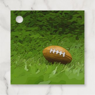Soccer American Football on green grass Favor Tags