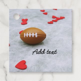 Soccer and football with love on white Favor Tags