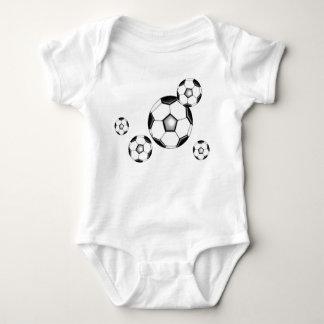 soccer baby: balls and white baby bodysuit
