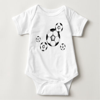 soccer baby: balls and white t shirts
