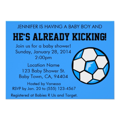 "Soccer Baby Shower Invitation, Customizable 4.5"" X 6.25"" Invitation Card"