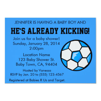 Soccer Baby Shower Invitation, Customizable Card