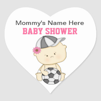 Soccer Baby Shower Stickers - Pink