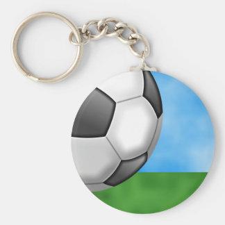 Soccer Background Basic Round Button Keychain