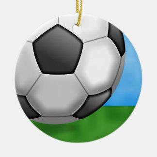 Soccer Background Ceramic Ornament