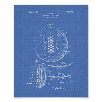 Soccer Ball 1928 Patent Art - Blueprint Poster