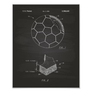Soccer Ball 1996 Patent Art - Chalkboard Poster