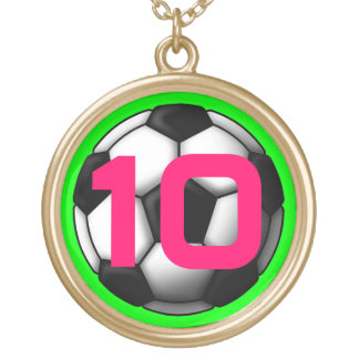 soccer ball 2 gold plated necklace