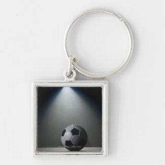 Soccer Ball 2 Silver-Colored Square Keychain