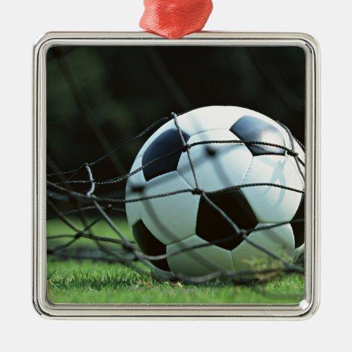 Soccer Ball 3 Square Metal Christmas Ornament