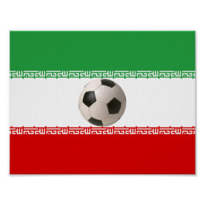 soccer ball 3D with Iranian flag Poster