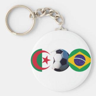 Soccer Ball Algeria & Brazil Flags The MUSEUM Zazz Basic Round Button Keychain