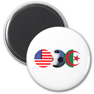 Soccer Ball Algeria & USA Flags The MUSEUM Zazzle 2 Inch Round Magnet