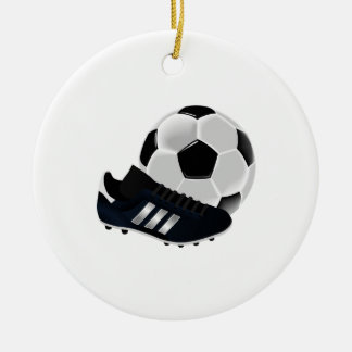 Soccer Ball and Cleat Ceramic Ornament