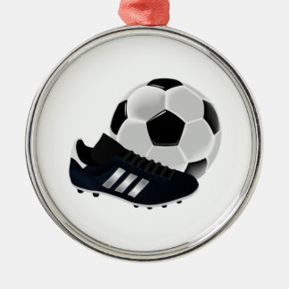 Soccer Ball and Cleats Metal Ornament