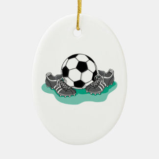 soccer ball and cleats vector design Double-Sided oval ceramic christmas ornament