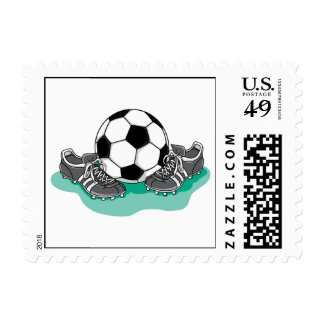 soccer ball and cleats vector design postage
