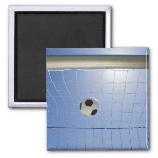 Soccer Ball and Goal 2 2 Inch Square Magnet