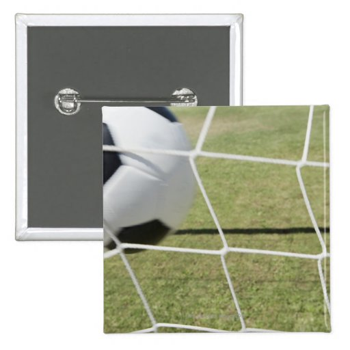 Soccer Ball and Goal 2 Inch Square Button